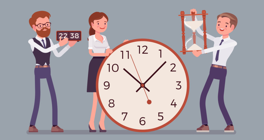 Time management giant clocks and business people. Manager controls employees working well, do tasks productively, organizing skills help to spend hours in the office effectively. Vector illustration